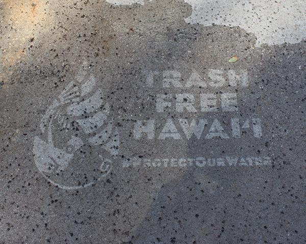 Trash Free Hawaii stencil at Waikiki Aquarium