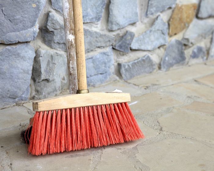baby steps sweeping driveway